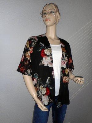 Schwarzer Blumen-Kimono