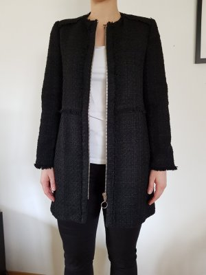 Zara Woman Lange blazer zwart Katoen