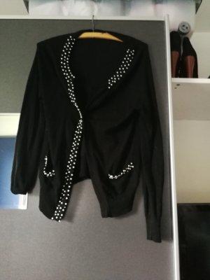 Schwarzer Cardigan mit Perlen und Strass