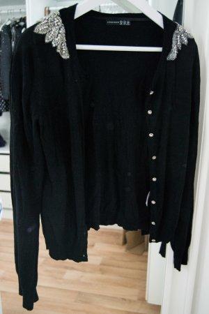 schwarzer Cardigan mit Schulterapplikationen
