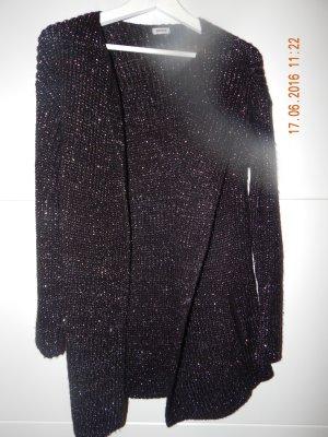 Schwarzer Cardigan mit Silberfaden