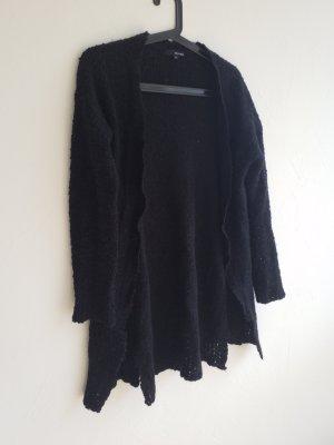 schwarzer Cardigan / Strickjacke mit Gürtellaschen