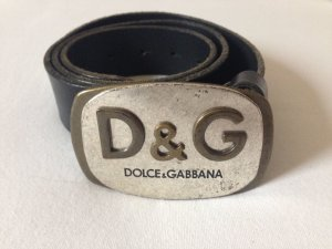 Dolce & Gabbana Leather Belt black-silver-colored
