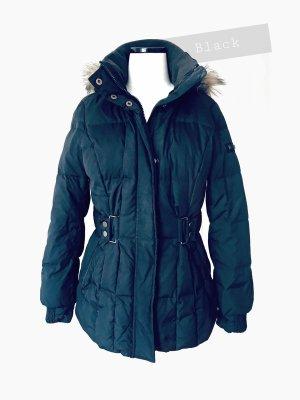 Schwarzer Daunen Jacke dick warm fluffy weich viele Details black   Esprit   40