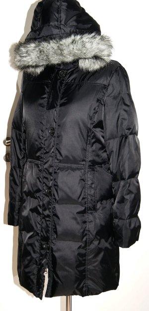 Schwarzer Daunen-Mantel mit abnehmbarer Kapuze