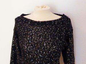 Schwarzer Dreiviertel Pullover mit Pailletten