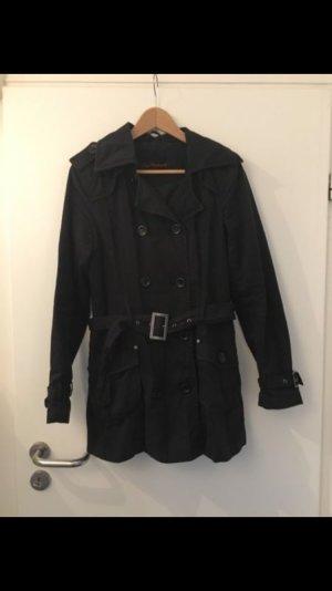 Schwarzer dünner Mantel in Gr 38