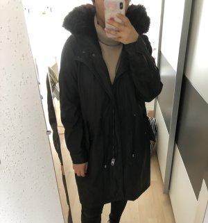 Zara Manteau à capuche noir