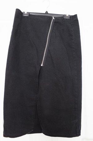 schwarzer geschlitzter Midi-Jeansrock L von Cheap Monday mit Reissverschluss