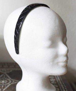 Schwarzer glänzender Haarreifen mit Karomuster NEU