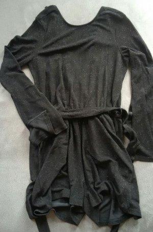 schwarzer Glitzer-Jump-Suit mit tiefem Rückenausschnitt von Gina Tricot Größe S