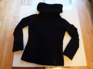 Schwarzer Grobstrickpullover von Pepe Jeans mit dickem Rollkragen Gr. M
