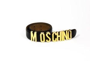Moschino Cinturón de cuero negro-color oro Cuero