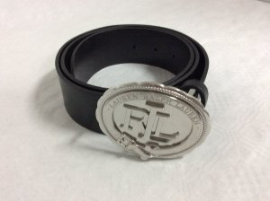 Ralph Lauren Leather Belt black-silver-colored leather