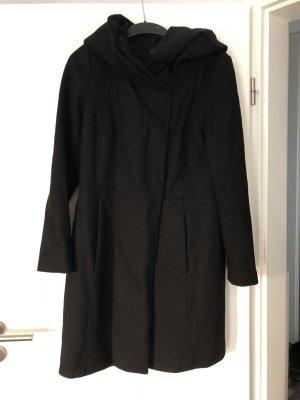 Schwarzer Hallhuber Woll-Mantel mit Kapuze/ großem Kragen