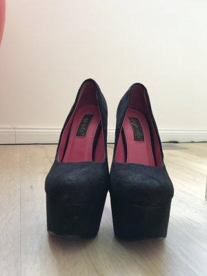 Schwarzer High Heel, Größe 37, Wildleder Optik