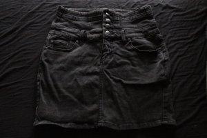 Schwarzer High-Waist Jeans-Rock