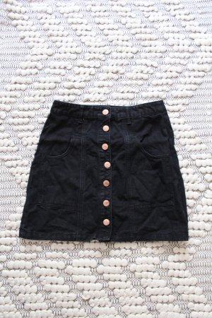 Schwarzer High Waist Jeans Rock