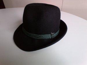 Cappello in feltro nero-verde bosco Lana