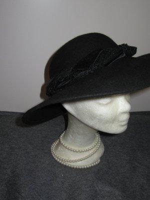 schwarzer Hut Vintage Retro 100% Wolle