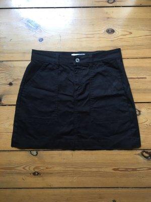 Schwarzer Jeans Rock Minirock Taillenrock