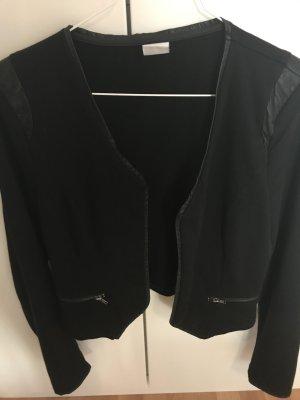 Schwarzer Jerseyblazer mit Lederapplikationen