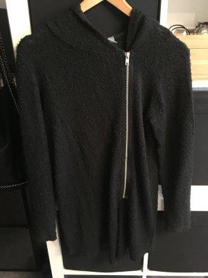 Schwarzer Kapuzen-Cardigan mit seitlichem Reißverschluss Gr. S