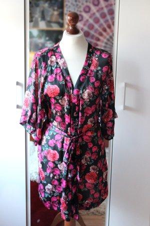 Schwarzer Kimono mit Rosenmuster 36 S H&M Blogger