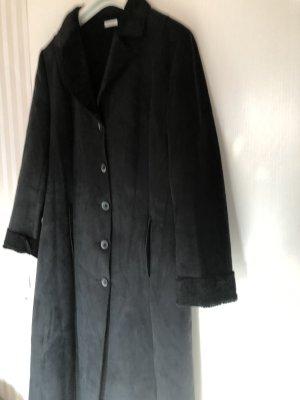 schwarzer Knöchellanger Mantel in Wildlederoptik von Esisto