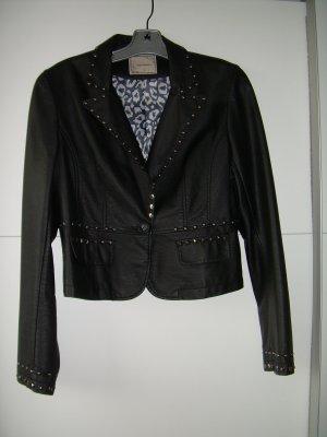 schwarzer Kunstleder-Blazer mit silbernen Nieten von Genesy Gr. XL 42 Lederjacke