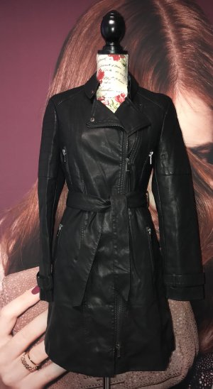 Amisu Abrigo de cuero negro Imitación de cuero