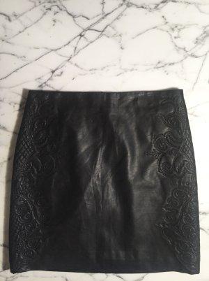 Zara Falda de cuero de imitación negro Imitación de cuero