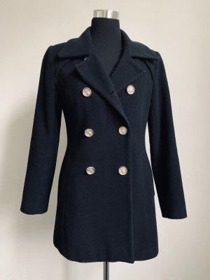 Schwarzer Kurz-Mantel für den Herbst/Winter