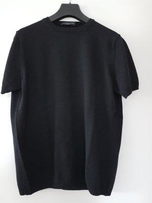 schwarzer Kurzarmpullover