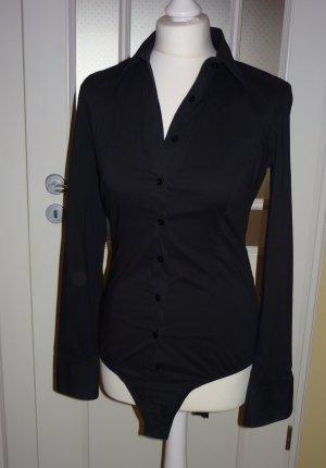 schwarzer, langärmeliger Blusenbody