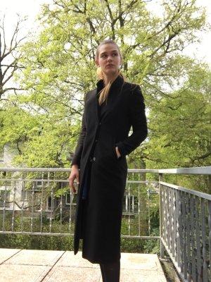 Schwarzer langer Mantel klassisch brit chic schwarz  lang gehrock  blazer schick Business