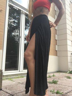 Schwarzer langer  Rock Bein Schlitz lang high waist schwarz tailliert