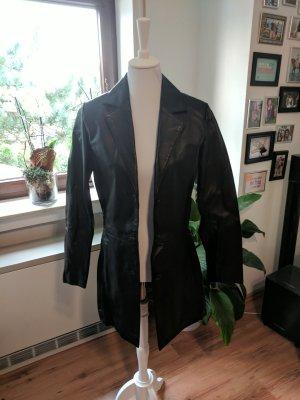 Schwarzer Leder Mantel