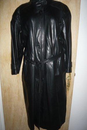 schwarzer Leder Mantel, Oversize,True Vintage