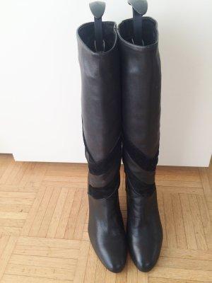 Schwarzer Leder-Stiefel in Ledermix von Goertz, Gr. 41