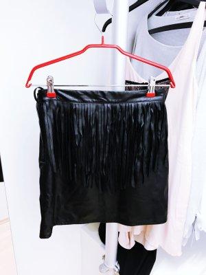 Schwarzer Lederrock mit Fransen von H&M