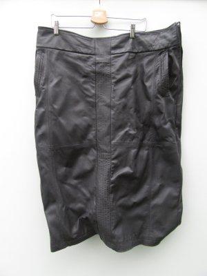 schwarzer Lederrock Vintage Retro Gr. 52/54