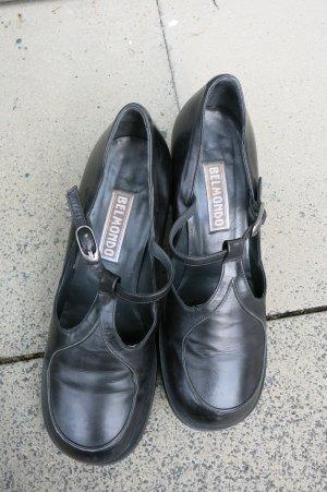 schwarzer Lederschuh von Belmondo mit T-Stap Gr 37
