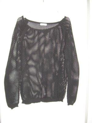 schwarzer Lochmuster-Pullover von Yessica Gr. L 42