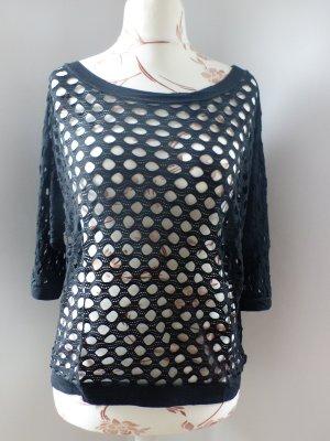 schwarzer Lochpullover / Shirt aus Italien