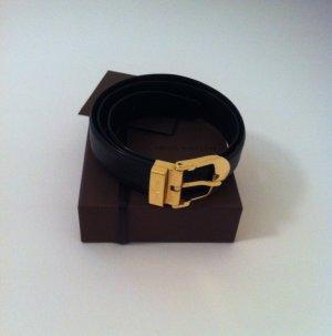 Schwarzer Louis Vuitton Gürtel mit goldene Schnalle