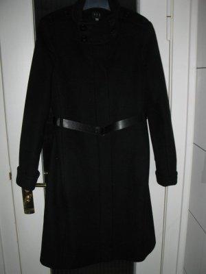Schwarzer Mantel aus Schurwolle mit Ledergürtel, DE34, französische Eleganz