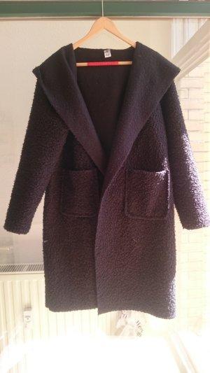 Abrigo con capucha negro Algodón