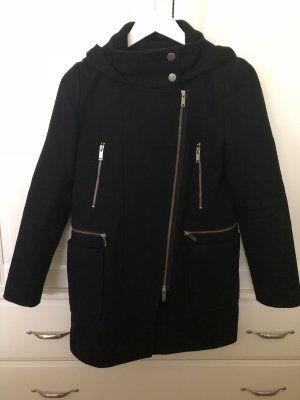 Hallhuber Abrigo con capucha negro-color plata