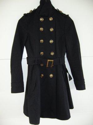 Schwarzer Mantel im Offiziersstil, sehr gute Qualität XS 34